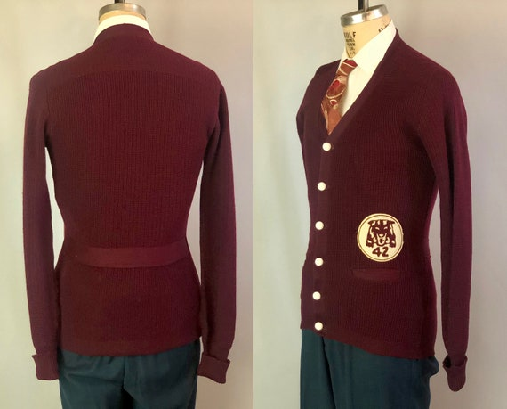 1940s Mens Belted Back Cardigan | Vintage 40s Garnet Red Wool Collegiate School Sweater with Tiger Patch Dated 1942! | Small Medium
