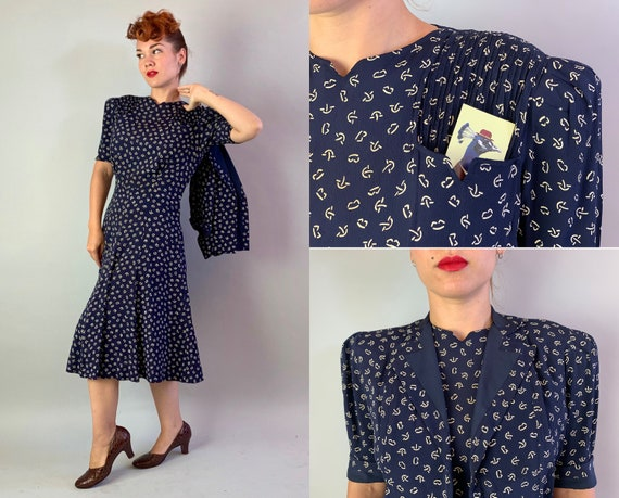 """1930s Puff Sleeve Perfection Dress Set   Vintage 30s Navy Blue with White Line Pattern Rayon Crepe Jacket and Frock w/""""Talon"""" Zip   Large"""