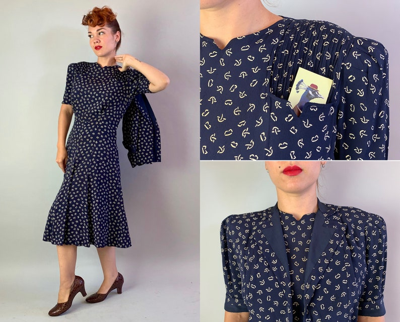 1930s Puff Sleeve Perfection Dress Set  Vintage 30s Navy Blue image 0