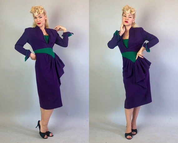 Vintage 1940s Dress | 40s Eggplant Purple and Emerald Green Wool Color Block Dress w/Standout Pointed Cuffs & Pleated Side Peplum | Medium