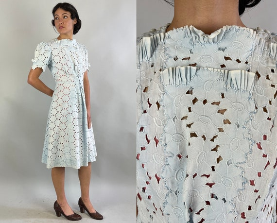 1940s Spring in Bloom Dress | Vintage 40s Powder Blue Cotton Flower Eyelet Lace Frock with Puff Sleeves and Box Pleat | Extra Small XS