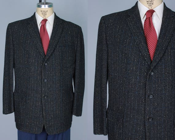 1950s Men's Flecked Grey Sport Coat | Vintage 50s Gray Single-Breasted Blazer Jacket with Bright Blue Windowpane | Size 44-46 Extra Large XL
