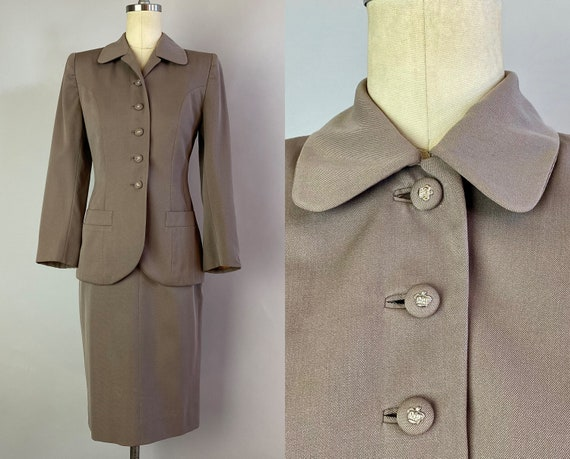 1940s Jet Set Professional Suit | Vintage 40s Taupe Wool Gabardine Two Piece Jacket Blazer w/ Crown Buttons & Pencil Skirt | Extra Small XS