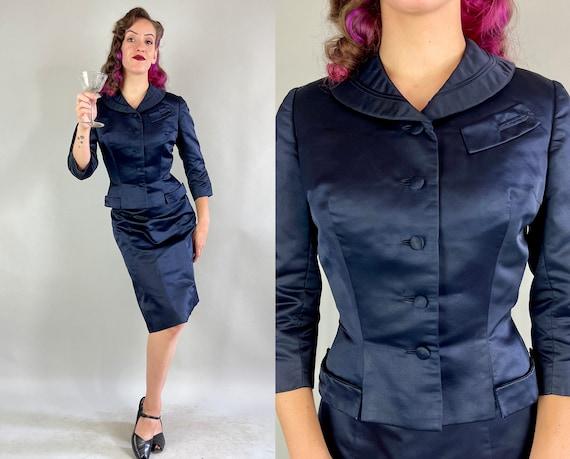 1950s Noir Dame Suit   Vintage 50s Darkest Navy Blue Rayon Satin Two Piece Shawl Collar Jacket Blazer & Skirt Cocktail Set   Extra Small XS