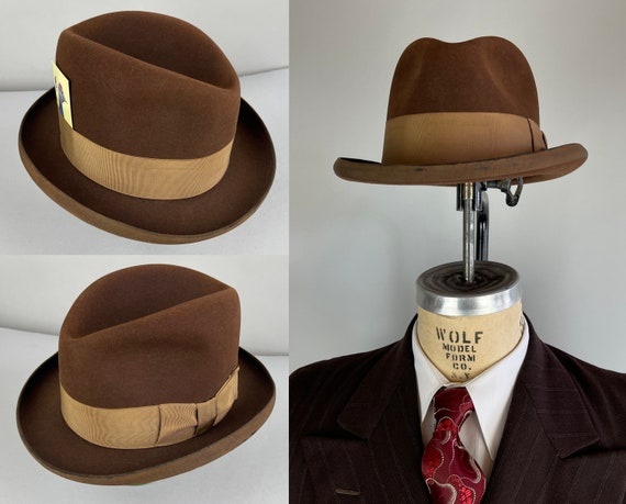 1940s  Southern Comfort Fedora | Vintage 40s Pecan Brown Wool Felt Homburg Hat with Brass Grosgrain Ribbon Hat Band | Size 7 & 1/4 Large