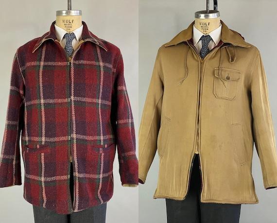 1940s Hunky Hank Sporting Jacket  | Vintage 40s Reversible Red White Purple & Green Plaid Wool + Khaki Twill Coat with Hood | Medium Large