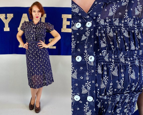 1930s Subtlety Sassy Dress | Vintage 30s Navy Blue Cotton Voile Frock w/ Flocked White Floral Stripes & Novelty Dotted Ladies | Medium/Large
