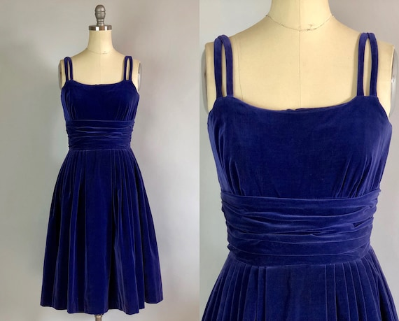 "Vintage 1950s Dress | 50s Pleated Blue Sapphire Velvet Cocktail Party Dress by ""Jonathan Logan"" w/Double Straps & Gathering 
