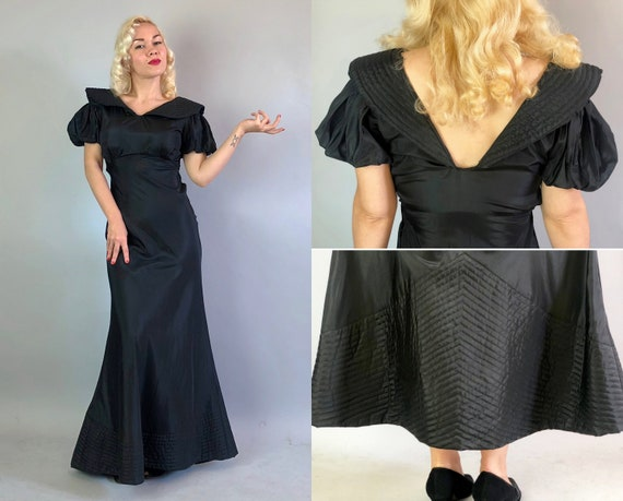 1930s Obsidian Black Rayon Gown | Vintage 30s Empire Waist Dress with Deep V Back Quilted Collar & Hem Gathered Puff Sleeves | Small