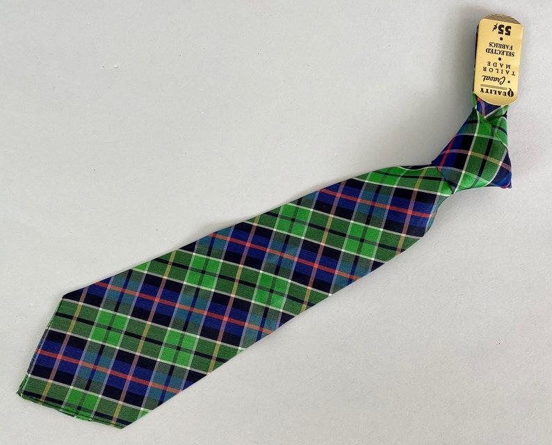 1930s Plucky Plaid Necktie  Vintage 30s Deadstock NOS NWT image 0