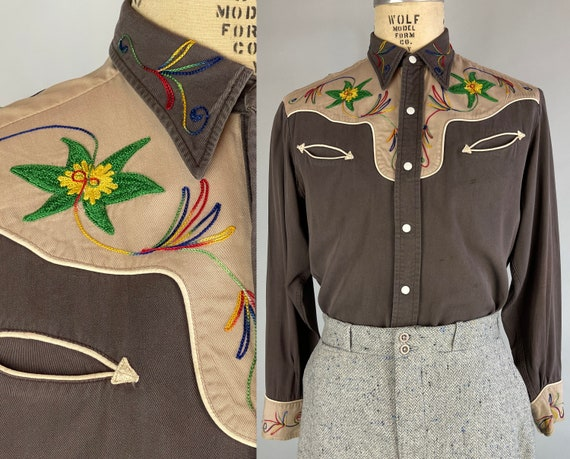 1950s Randy's Rodeo Shirt | Vintage 50s Classic Western Cowboy Snap Up Brown Cotton Two-Tone with Rainbow Chain Stitch Embroidery | Medium