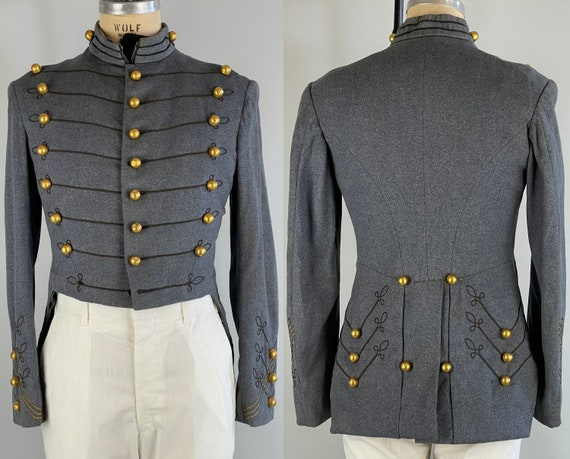 1950s Corps of Cadets Fanciful Jacket | Vintage 50s Denim Blue Wool Tail Coat w/Brass Buttons & Black Soutache West Point |Size 38/40 Medium