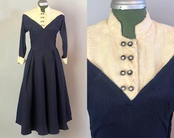 1950s Winter Wonderland 2–Tone Dress | Vintage 50s Midnite Blue Crinkled Rayon Cocktail Dress w/White Faux Fur +Rhinestones | Extra Small XS
