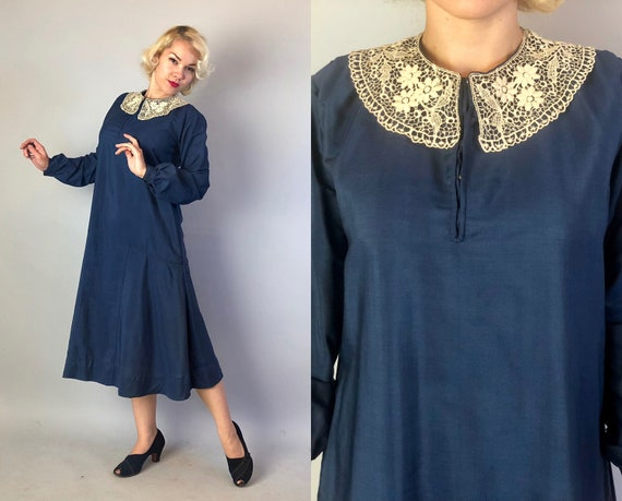 Vintage 1920s Dress   20s Midnight Blue Linen Dropped Waist Day Dress with Round White Lace Collar and Long Puffed Sleeves   Medium