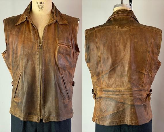 1930s Bad Boy Belted Back Vest | Vintage 30s Caramel Brown with Dark Patina Leather Motorcycle Vest with Waist Adjusters | Medium Large