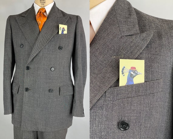 1940s Jacob's Jaunty Suit | Vintage 40s Ash Grey Wool Two Piece Peak Lapels Jacket & 'V for Victory' Trousers | Size 38 Medium Long/Tall