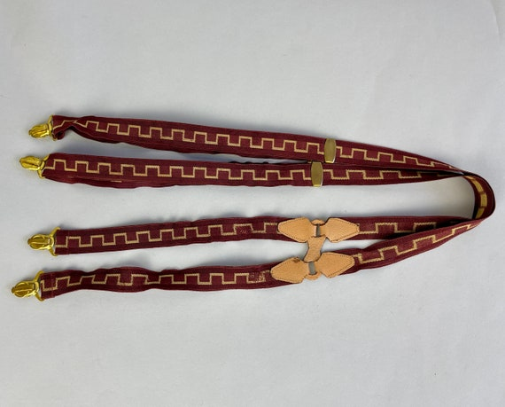 1930s Figure 8 Suspenders   Vintage 30s Maroon Red and Gold ZigZags Elastic and Peach Leather Figure Eight Action Back Brass Clip-On Braces