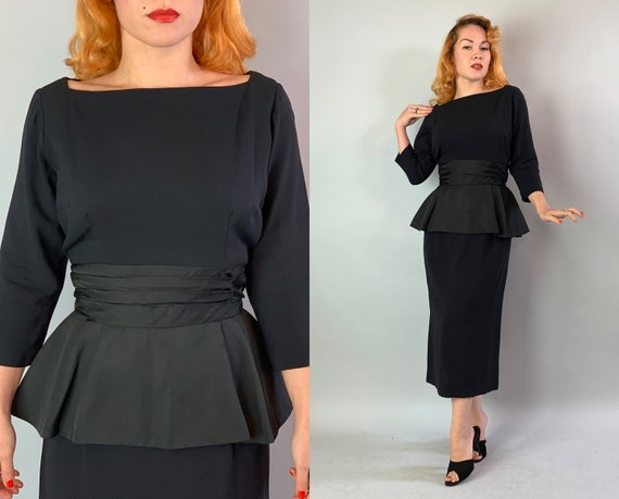 "1950s Cocktail Couture Dress | Vintage 50s ""Mr John"" Rayon and Silk Faille Little Black Dress with Cumberbund Peplum and Boat Neck 