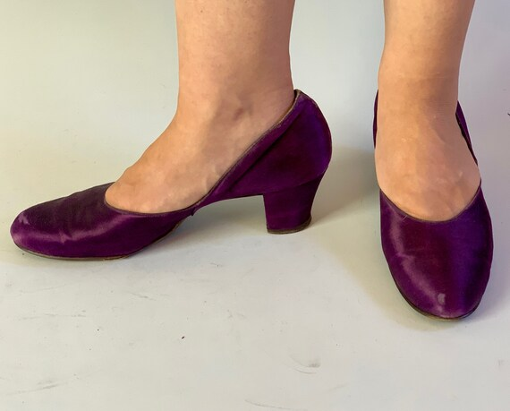 """1940s Playful Petunia Purple Pumps 