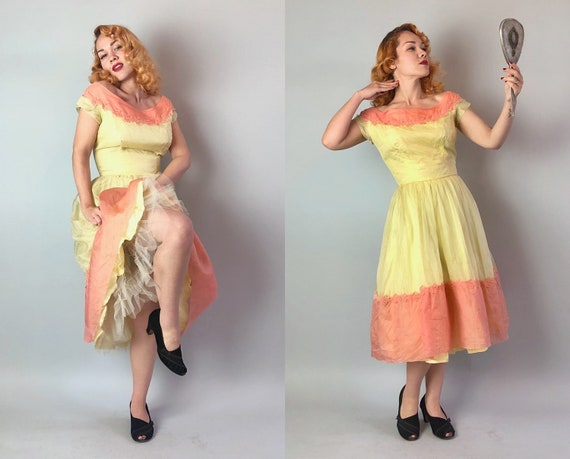 1950s Spring Fling Dress | Vintage 50s Butter Yellow & Coral Pink Organza Party Dress w/Floral Trim + Built in Crinoline | Small