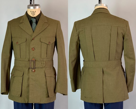1930s BSA Scoutmaster Belted Jacket | Vintage 30s Olive Green Wool Boy Scouts Official Uniform Blazer w/Box Pleat Details | Size 40 Medium