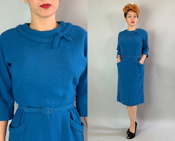 1950s Alison's Day Dress | Vintage Midcentury 50s Teal Blue Wool Crepe Frock with Bow Boat Neckline, Self-Belt, and Pockets! | Large
