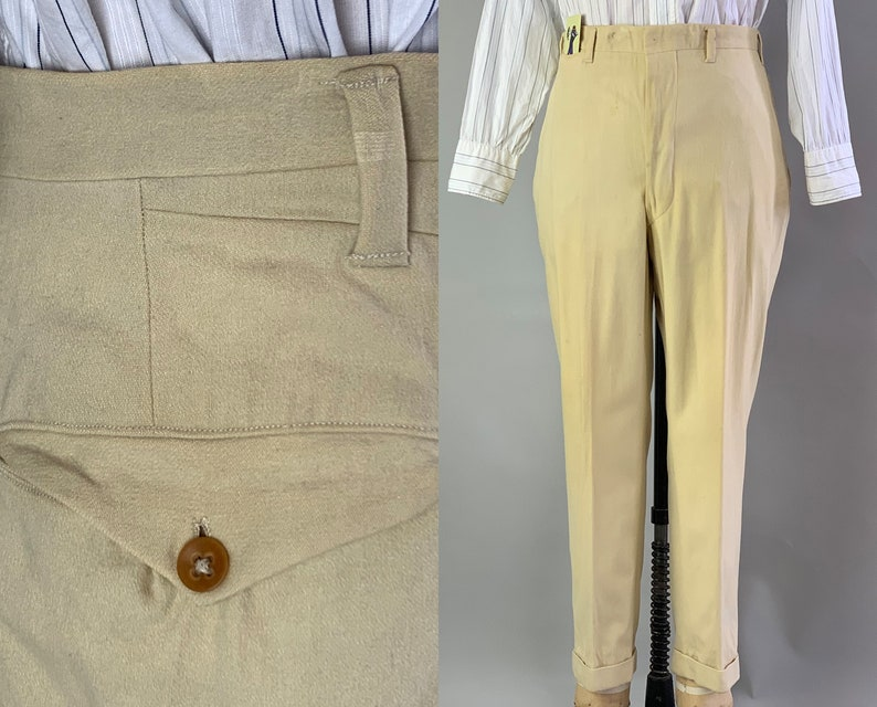 1930s Summer Saunter Trousers  Vintage 30s Cream Ivory White image 0