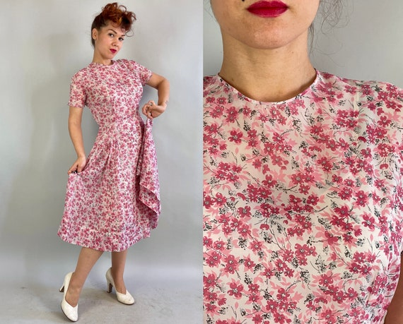 1940s Cherished Cherry Blossom Dress | Vintage 40s Sheer White Chiffon Pink Floral Print Fit and Flare Spring Summer Frock | Large