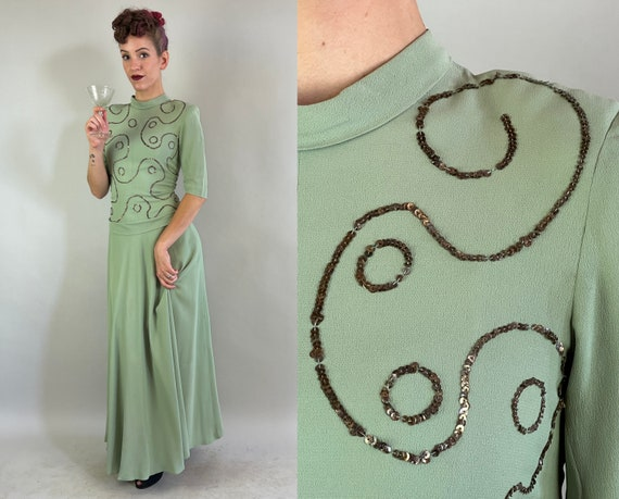 1940s Seafoam Swirls Formal Gown | Vintage 40s Green Rayon Crepe Full Length Dress with Sequin Design Bow & Covered Buttons | Extra Small XS