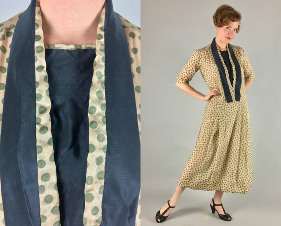 1920s Flapper Dress | Vintage 20s Beige Champagne and Moss Green Polkadot Silk Day-To-Evening Frock | Medium