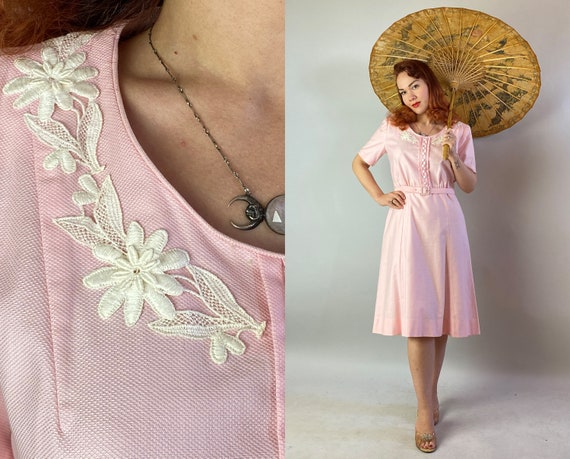 1940s Pretty in Pink Day Dress | Vintage 40s Cotto