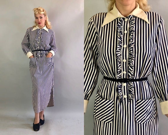 Vintage 1950s Dress | 50s Blue and White Vertical Stripe Long Sleeve Shirt Tail Dress with White Cuffs and Collar Ruffles & Pockets | Large
