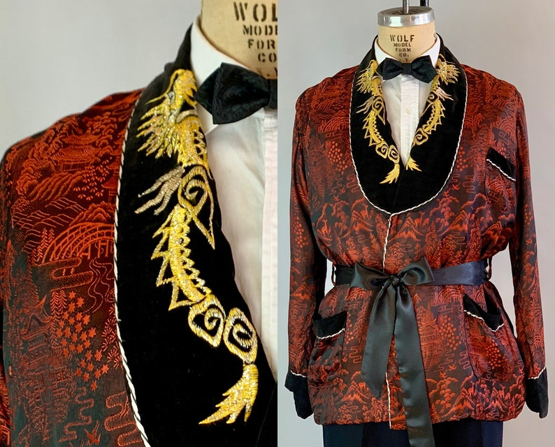 1950s Sophisticated Smoking Jacket  Vintage 50s Red and Black image 0