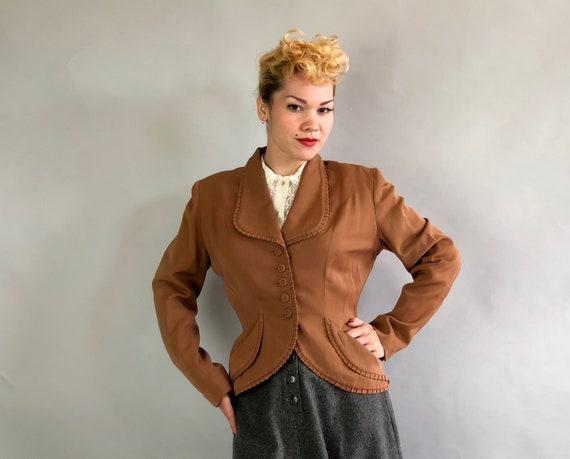 "Vintage 1940s Blazer   40s Tawny Brown Virgin Wool Gabardine Jacket with Ribbed Edging Self Buttons & Scoop Pockets by ""Forstmann""   Medium"