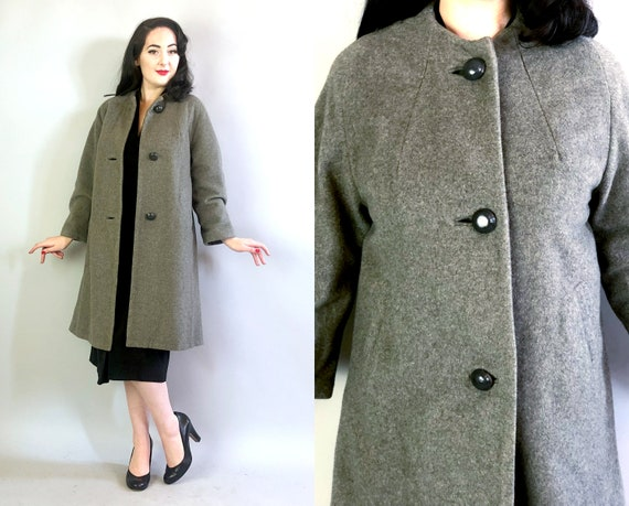 1960s Grey Swing Coat | Vintage 60s Mid Century Gray Cashmere Jacket w/ Large Wooden Buttons, Neckline Seams, & Unused Pockets NOS | Medium