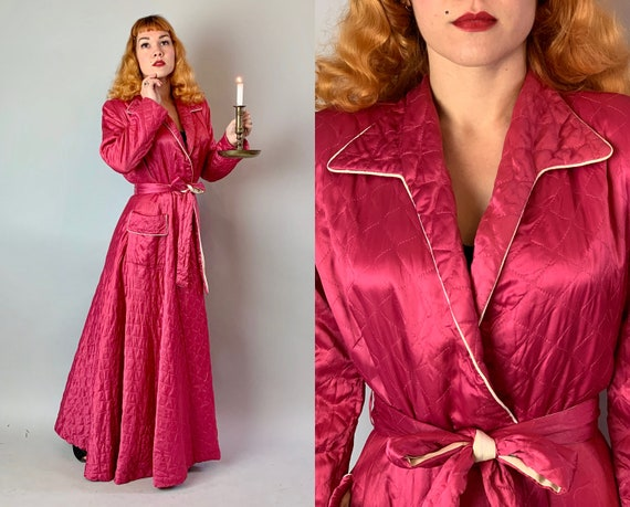 "1940s Quilted Dressing Gown | Vintage 40s Hot Pink Rayon Satin Lounging Robe House Coat with White Piping and Pocket by ""Textron"" 