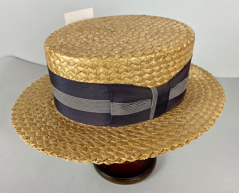 1920s Lazy Summer Day Boater  Vintage 20s Pressed Straw Hat image 0