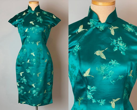 1950s Elegant Butterfly Cheongsam | Vintage 50s Teal Blue Green Silk Brocade QiPao Traditional Chinese Evening Party Dress | XS Extra Small