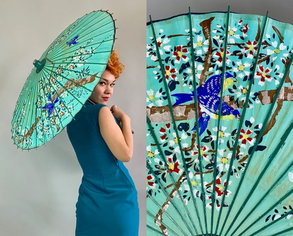 1930s Blue Bird Parasol | 30s Turquoise Blue Green Paper Sun Umbrella Hand Painted with Blossom Branches and Songbirds with Bamboo Handle