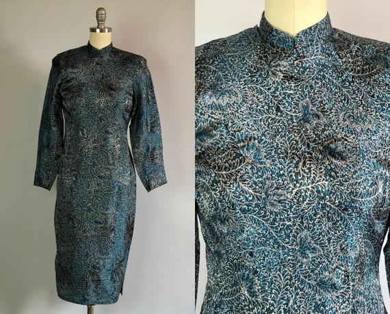 Vintage 1940s Dress | 40s Turquoise Blue and Silver Peacock Silk Cheongsam Qipao Evening Cocktail Gown with Feather Pattern | Extra Small XS