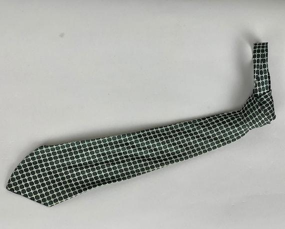 Vintage 1930s Dapper Dan Necktie | Vintage 30s Woven Black Circles and Green Diamonds Silk Tie with Silver Outlines