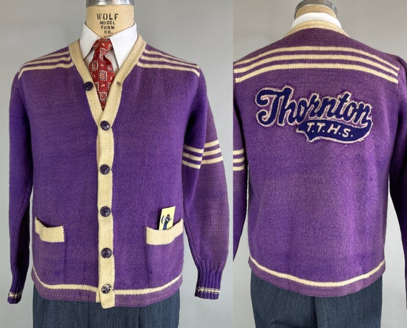 1940s Varsity Vincent Collegiate Cardigan | Vintage 40s Purple and White Wool Knit Two-Tone Letterman Sports Sweater | Large/Extra Large XL
