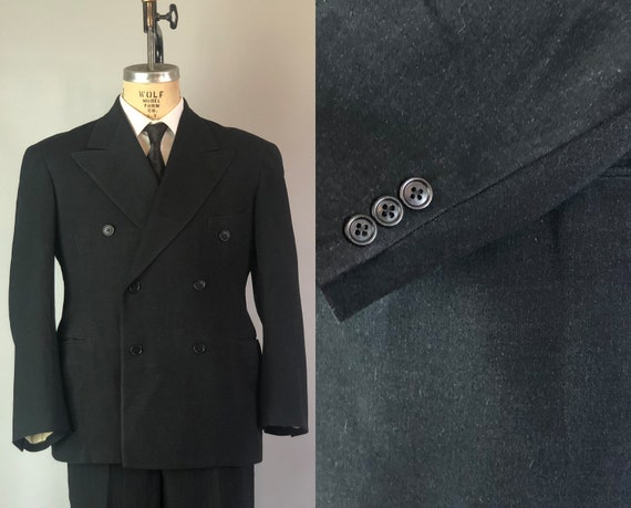 "1940s Mens Peak Lapel Blazer | Vintage Early 40s Charcoal Black Wool Sport Coat Jacket by ""Rex Tailoring"" Dated 1940! 