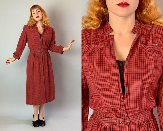 1940s Cozy Day Dress | Vintage 40s Red Black and Grey Plaid Tartan Light Wool Frock with Peekaboo Zip Front and Matching Belt | Medium/Large