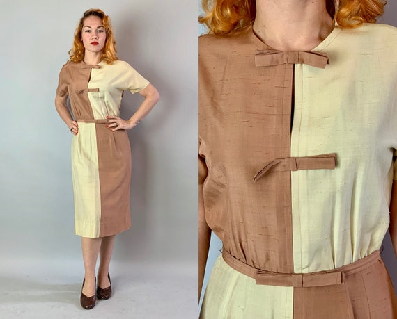 Early 1950s Sahara Sandy Color Block Day Dress | Vintage 50s Tawny Beige and Ivory Sand Dupioni Silk w/Bow Details & Matching Belt | Medium