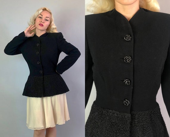 Vintage 1940s Jacket | 40s Vampy Black Fitted Wool Crepe Blazer with Curly Persian Lamb Peplum and Knotted Bakelite Buttons | Medium