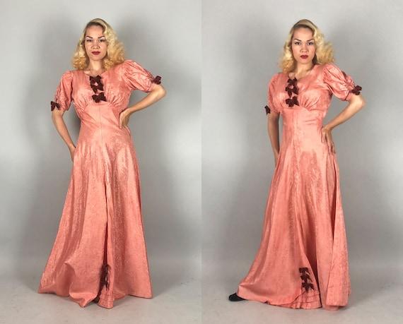 1930s Moiré Silk Gown   Vintage 30s Salmon Pink T… - image 5