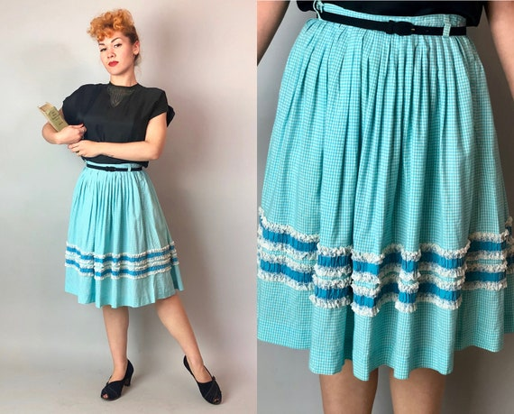 1950s Aqua Gingham Skirt | Vintage Midcentury 50s Bright Blue & White Cotton Full Skirt w/ Two Horizontal Lace Ruffle Stripe Tiers | Medium
