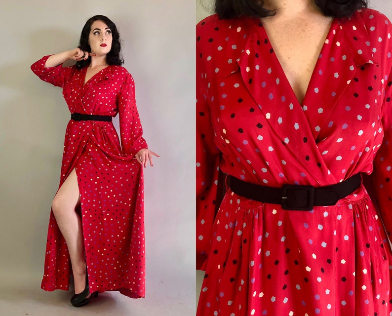 d5b14dd7a4 Vintage 1940s Dress 40s Candy Apple Red Silky Rayon Hostess
