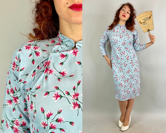 1930s Spring Fling Cheongsam | Vintage 30s Sky Blue with Pink and Green Flower Print Textured Rayon QiPao Chinese Dress | Small Medium